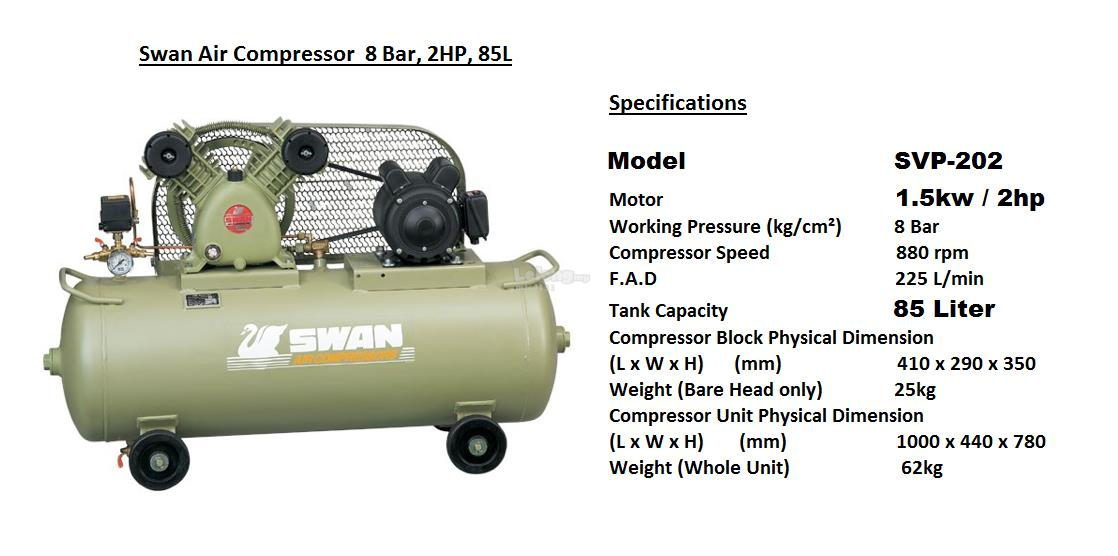 Swan SVP-202 2HP Air Compressor