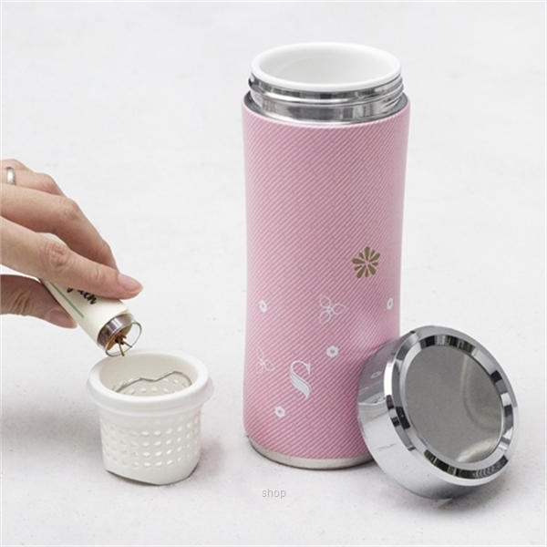 SWANZ 360ml 3D Cherry Blossom Crown Collection Porcelain Tumbler (With Straine