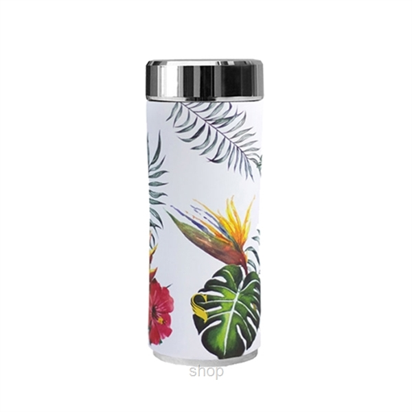 SWANZ 360ml Bird of Paradise Crown Collection Porcelain Tumbler (With Strainer