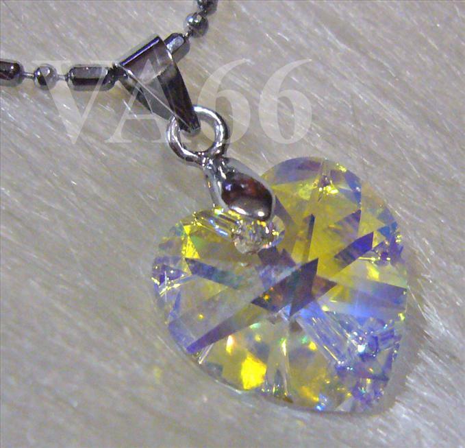7b68b2910cae5 Swarovski #6202 14mm Heart Crystal Pendant Necklace AB