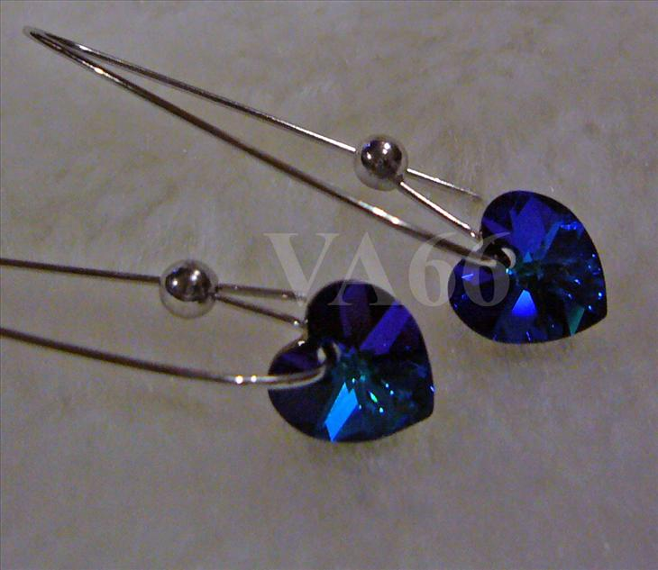 Swarovski Crystal Heart Love AB color Peacock Blue Heliotrope Earrings