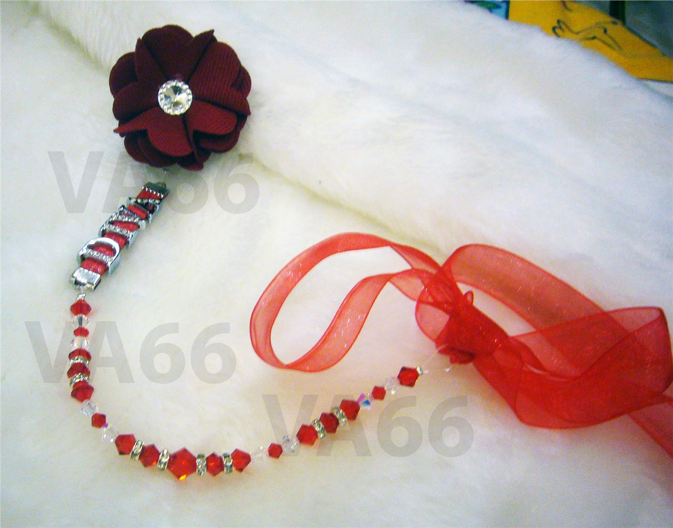Swarovski Crystal n Rondelle Baby Pacifier Holder Clip Personalize Red