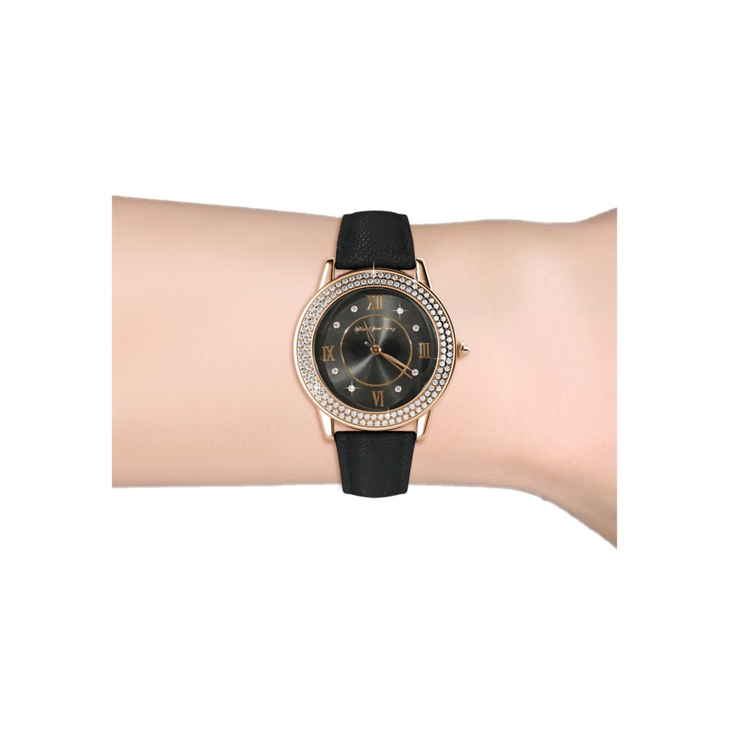 Swarovski Crystals Dawn Leather Watch (Black)