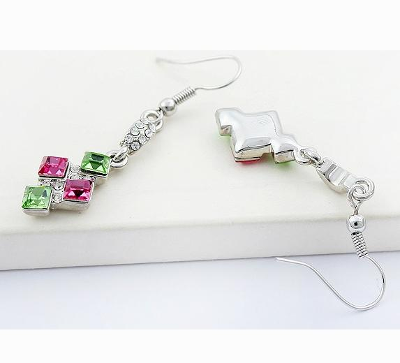 Swarovski Elements Earrings - Colorful Square (Pink & Green)
