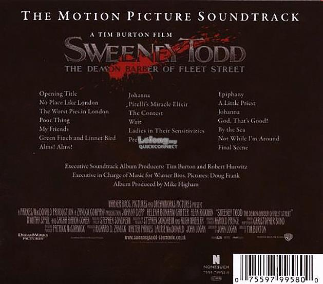 Sweeney Todd The Motion Picture Soundtrack 2007 CD