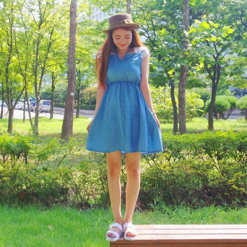 SWEET DENIM DRESS BLUE WD7046