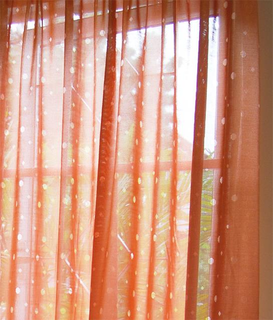 Sweet ER Orange lace curtains 12 ft FP