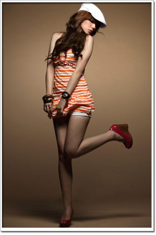 Sweet Lovely Lines Orange Vest Short Dress (Orange)