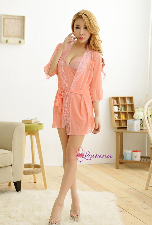 Sweet Sexy Set of Robe Lingerie Dress Nightwear L2087