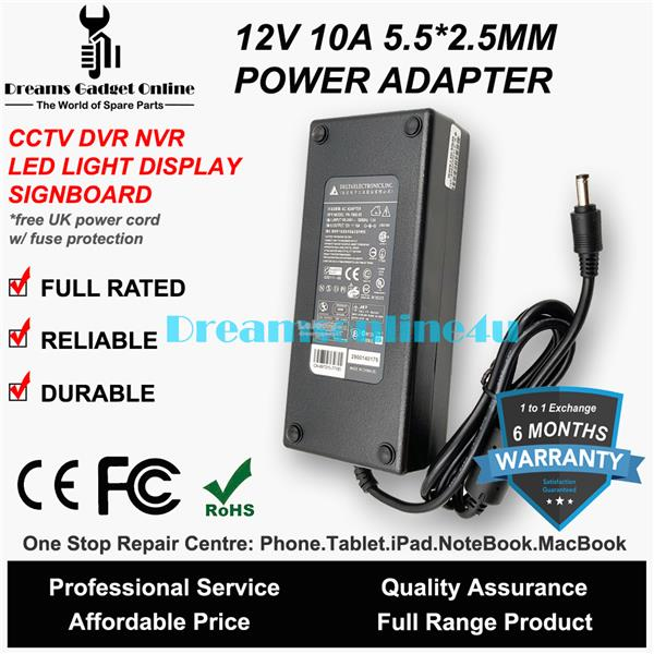 Switching Power Supply Adapter CCTV DVR LED 12V 10A 5 5*2 5mm