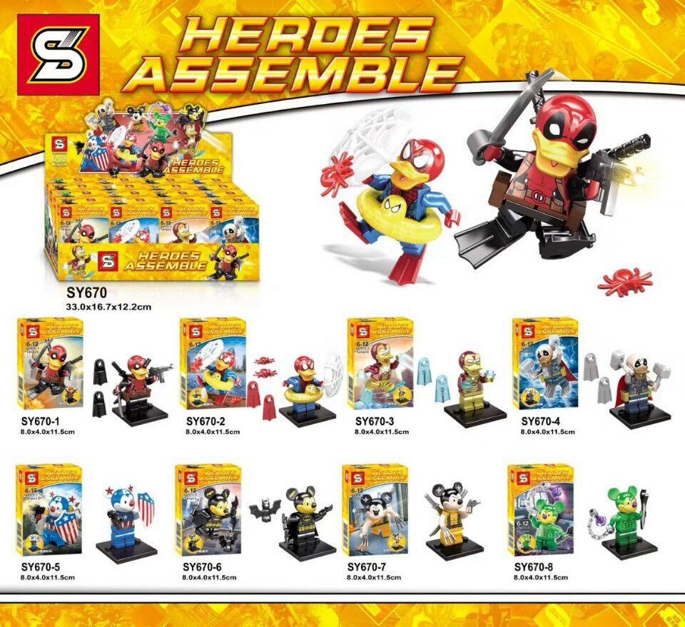 SY670 Duck And Micky SuperHeros Minifigure 8 in 1 set