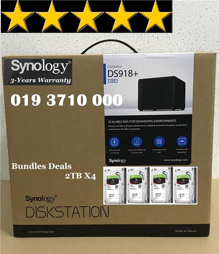 Synology DS-918+ (DS918+) 4GB NAS DiskStation 4-Bays (DS918+)