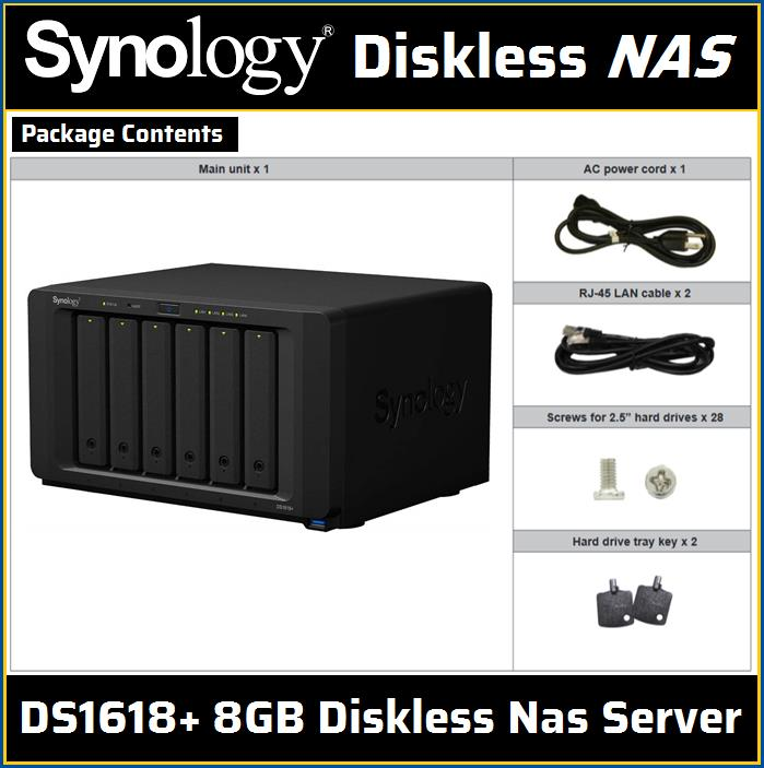 Synology DS1618+ 8GB Diskless Nas Server