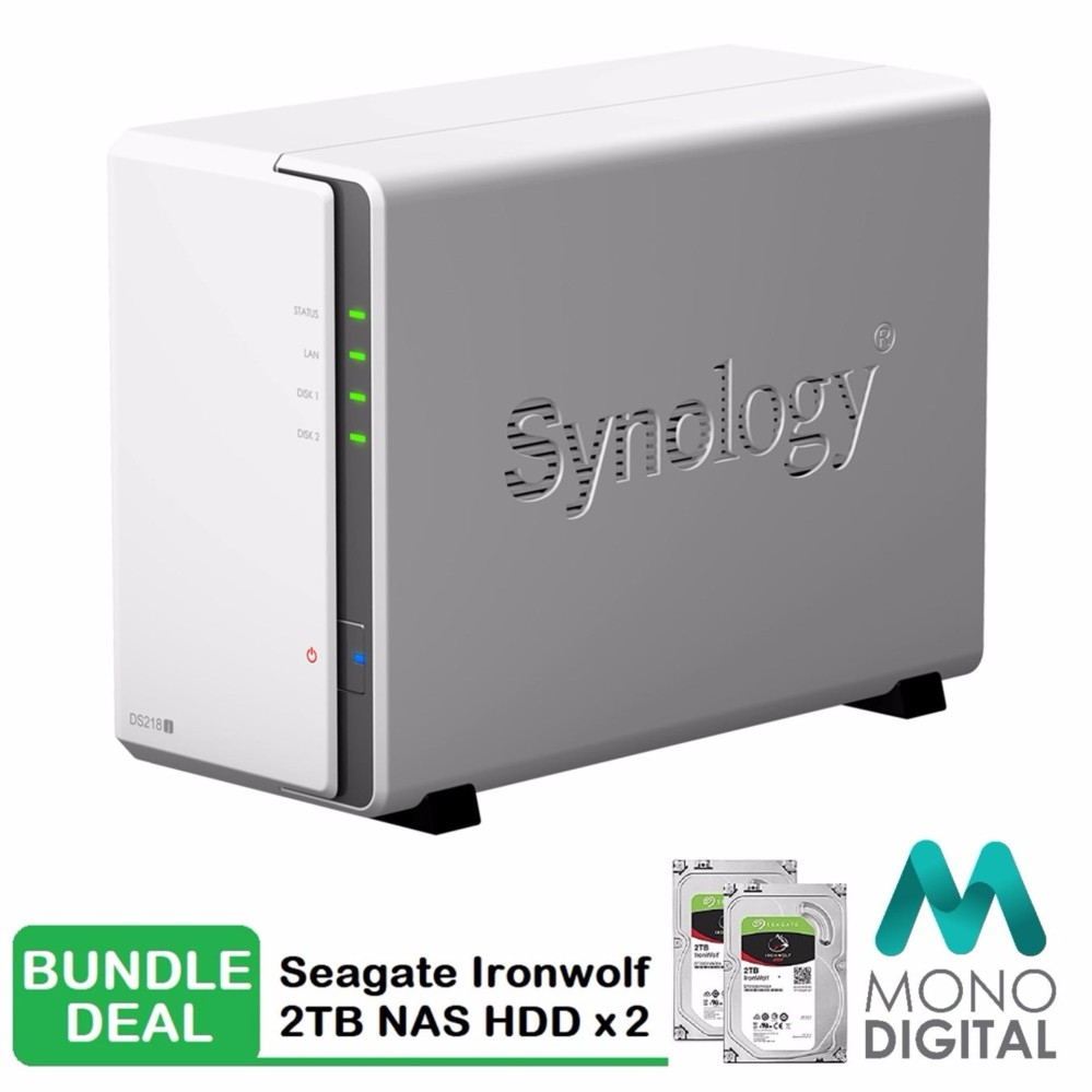 Synology DS218j NAS DiskStation 2-Bays with Seagate Ironwolf 2 x 2TB