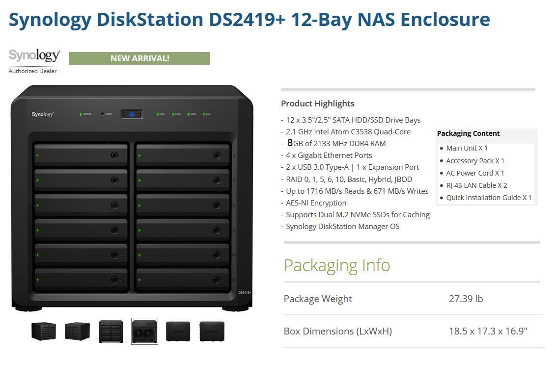 SYNOLOGY DS2419+ 8GB 12-BAYS Nas Enclosure