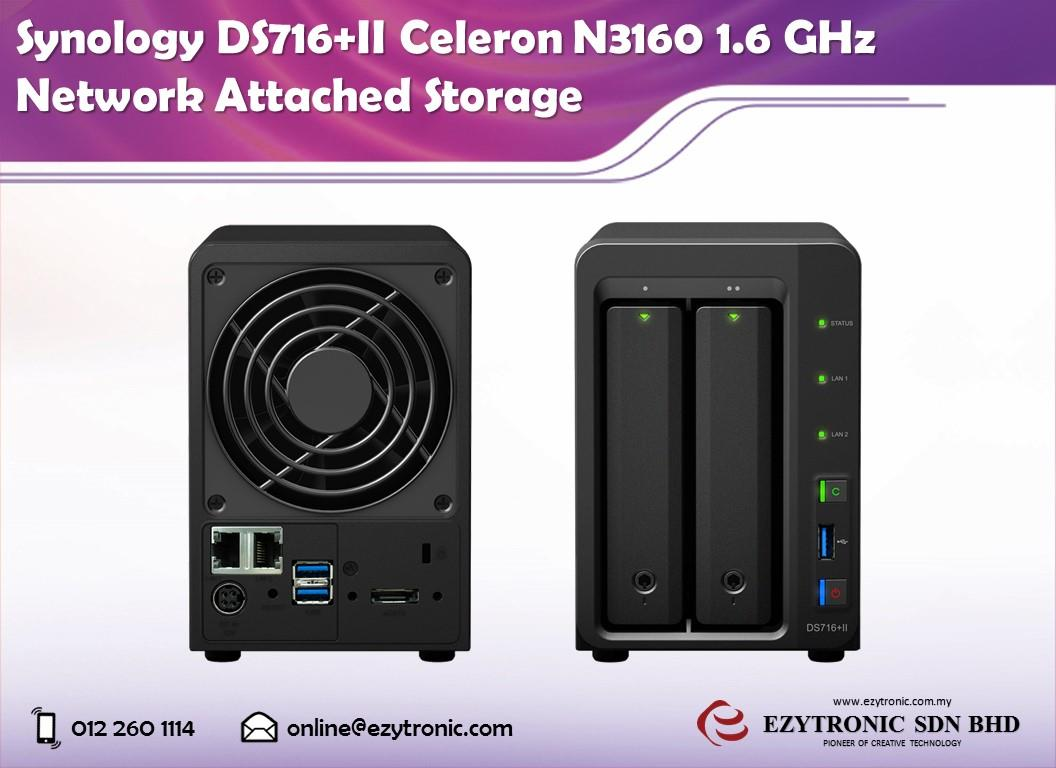 Synology DS716+II Celeron N3160 1 6 GHz Network Attached Storage