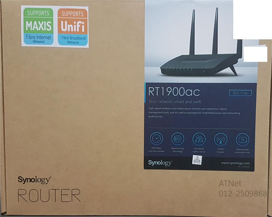 SYNOLOGY WIFI N600 DUAL-BAND AC1900 GIGABIT ROUTER (RT1900AC)