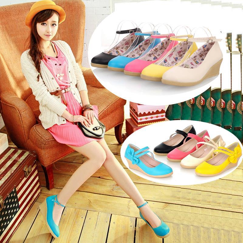 T008417 Korean Princess Bow Buckle High Heel Women Stylish Shoes
