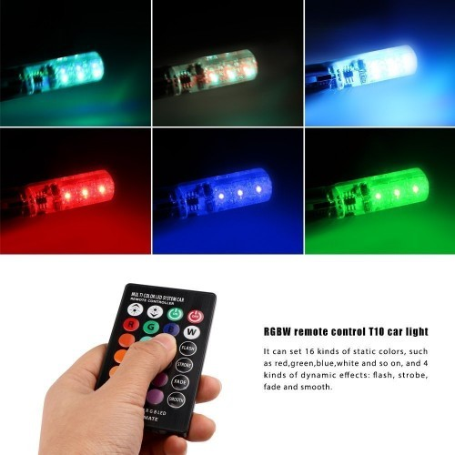 T10 6SMD 5050 RGBW Bulb LED Car Lamp Side Light Wireless With Remote Control
