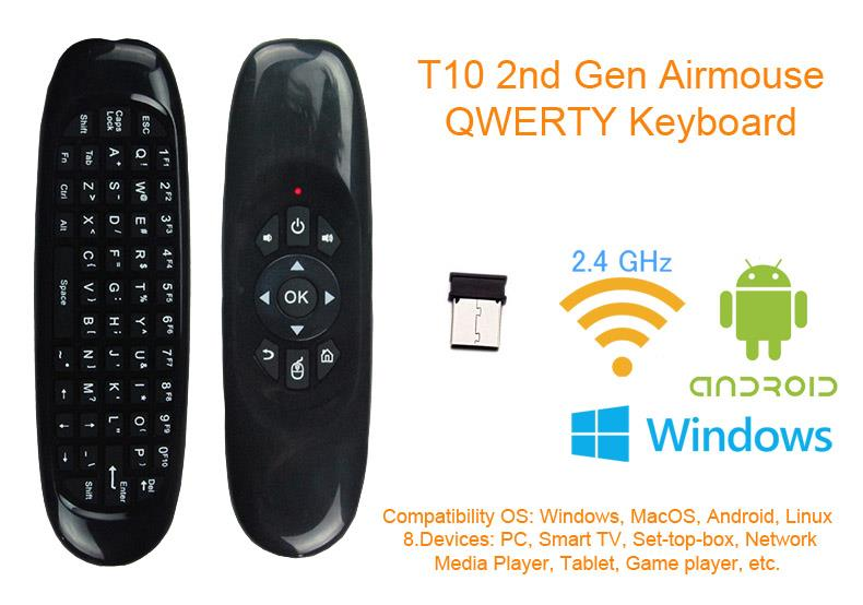 T10 Airmouse Wireless Keyboard Android TV Box Mibox EVPAD UBOX