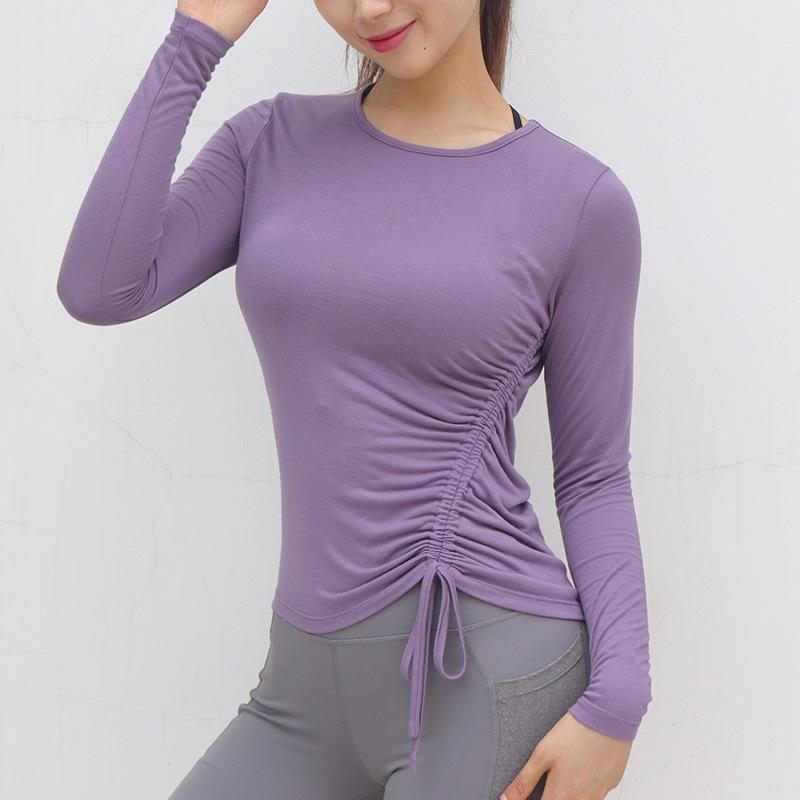 [T8470] Drawstring Long Sleeve Fitness Top