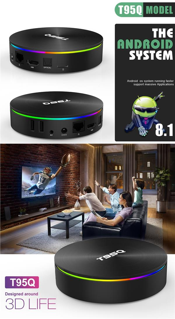 T95Q Amlogic S905X2 4GB+64GB ROM Android TV BOX / IPTV / 4K