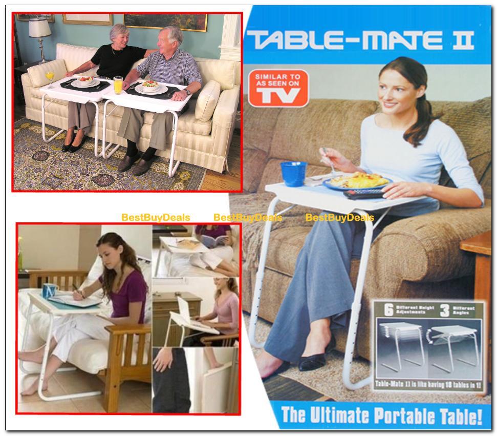 TABLE MATE II PORTABLE ADJUSTABLE FOLDING TABLE TV DINNER LAPTOP TRAY