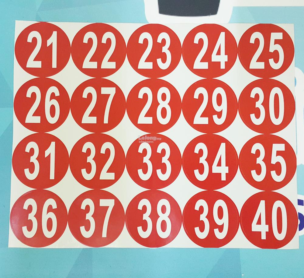 Table number round sticker pelekat nombor meja bulat