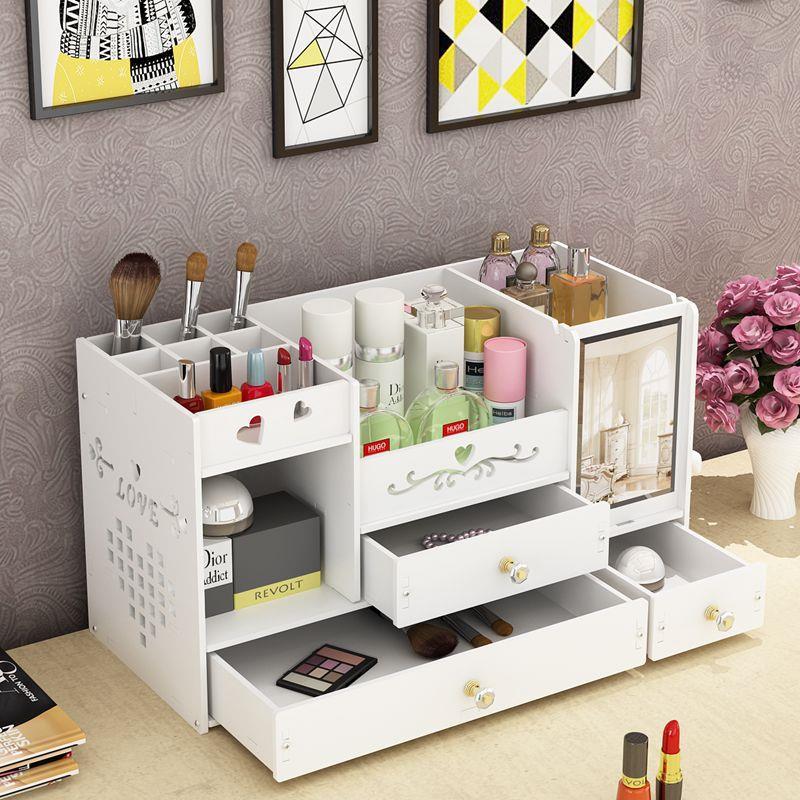 Tabletop Dressing Box With Mirror Skincare Storage Makeup Organizer