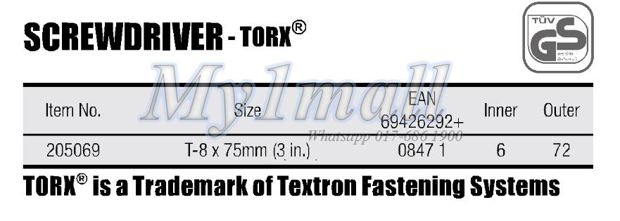 "TACTIX 205069 SCREWDRIVER T-8X75MM(3"")"