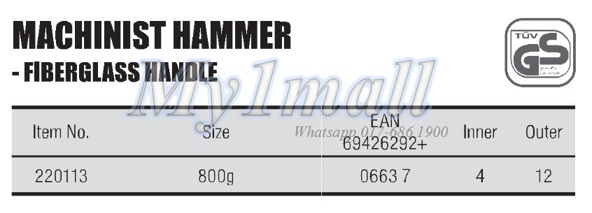 TACTIX 220113 HAMMER MACHINIST 800G