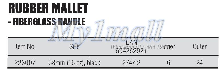 TACTIX 223007 MALLET RUBBER 16OZ(58MM) BLACK