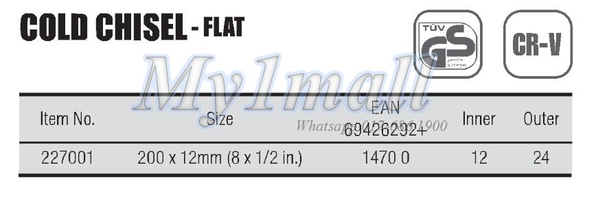 TACTIX 227001 CHISEL COLD FLAT 200X12MM