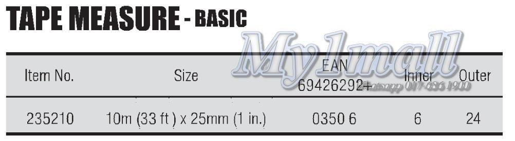 Tactix 235210 10M 33ft X 25mm 1inch Basic Series Measure Tape