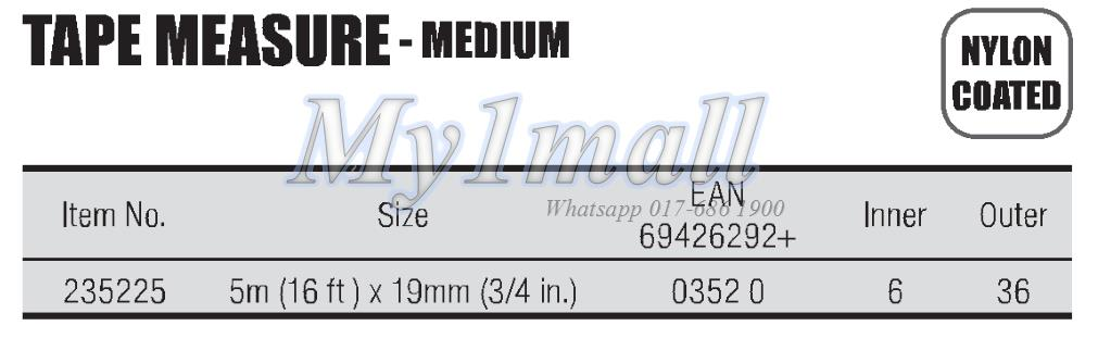 "TACTIX 235225 TAPE MEASURE 5.0m(16')x19mm(3/4"")"