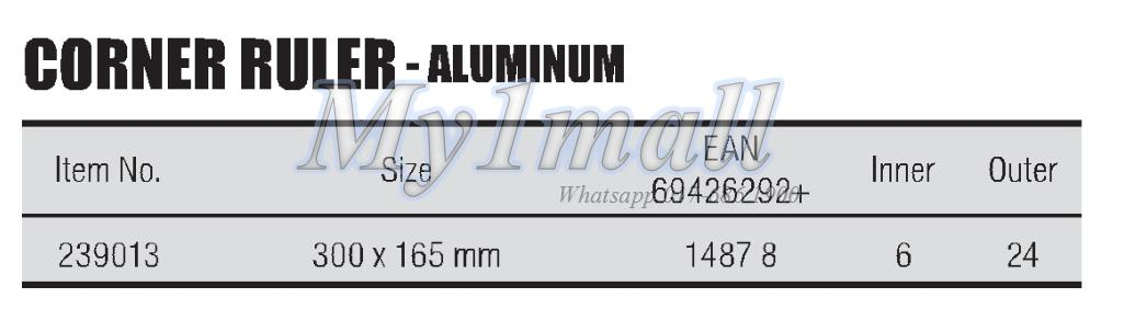 TACTIX 239013 CORNER RULER-ALUMINUM  300X165MM