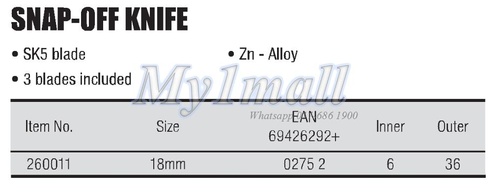 TACTIX 260011 KNIFE SNAP-OFF 18MM ZN-AL ALLOY