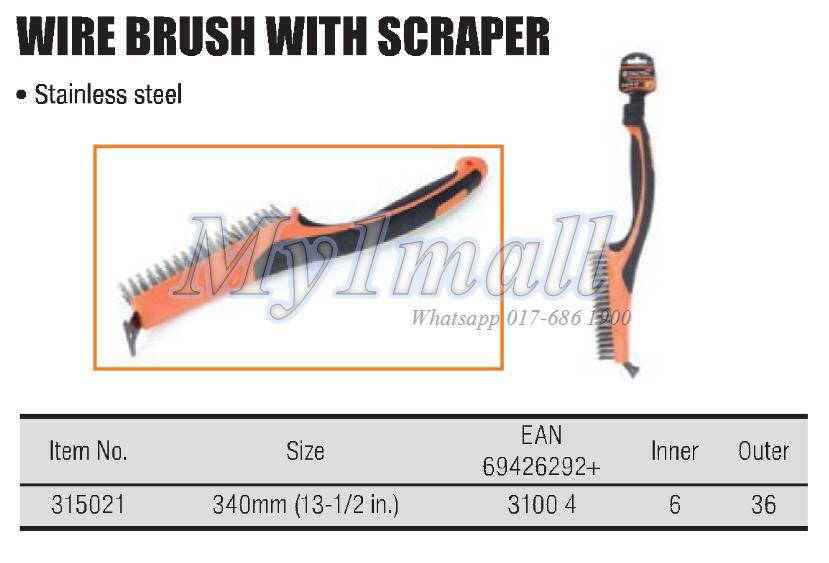 TACTIX 315021 SS BRUSH WITH SCRAPER 13-1/2""