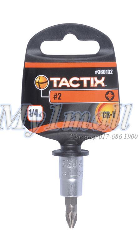 "TACTIX 360131,32,33 BIT SOCKET 1/4""DR POZI #1,#2,#3"