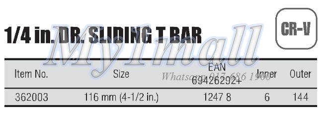 "TACTIX 362003 SLIDING T BAR 1/4""DR"