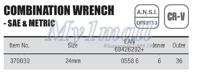 TACTIX 370039 - 24MM COMBINATION WRENCH