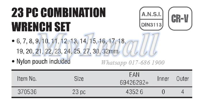 TACTIX 370536 23PC COMBINATION WRENCH SET