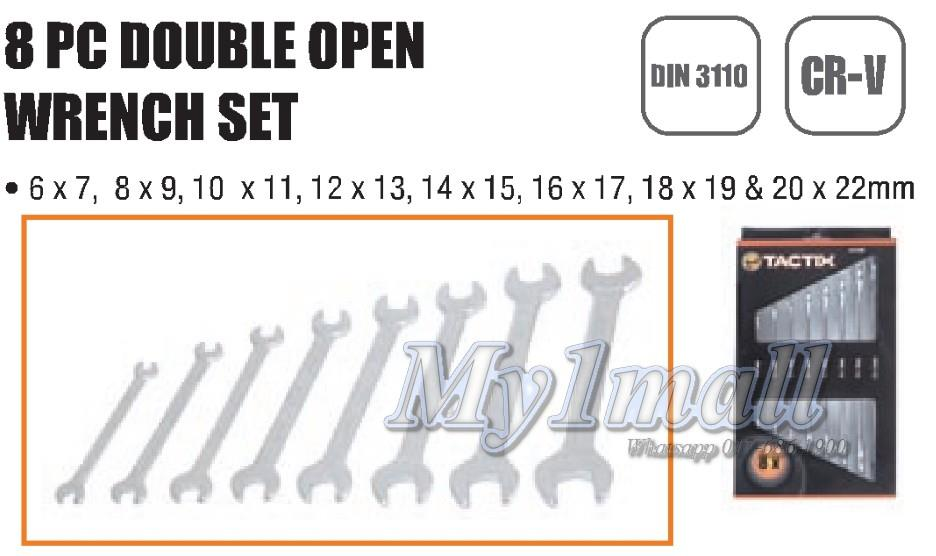 Tactix 372408 8pcs Metric / inch Double Open Wrench