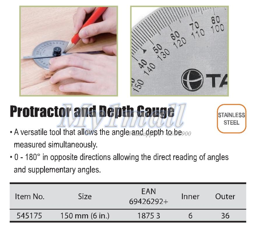 "TACTIX 545175 150MM/6"" PROTRACTOR & DEPTH GAUGE"