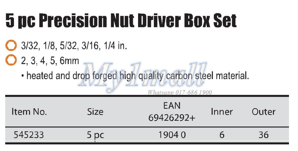 TACTIX 545233 5PC PRECISION NUT DRIVER SET