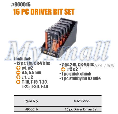 TACTIX 900016 16PC DRIVER BIT SET - METRIC