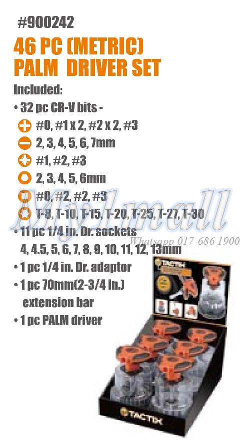 TACTIX 900242 46PC PALM DRIVER SET - METRIC