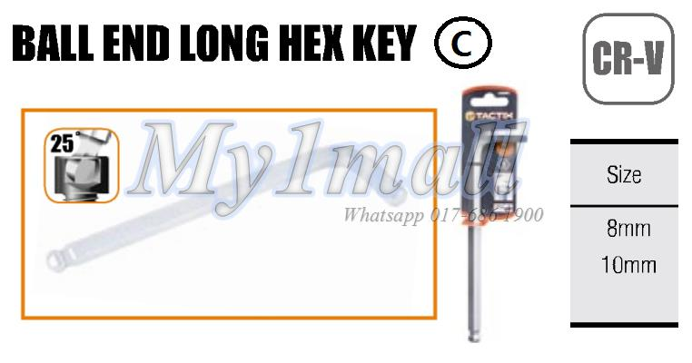 TACTIX HEX KEY BALL END LONG 8.0mm,10.0mm (SET C)