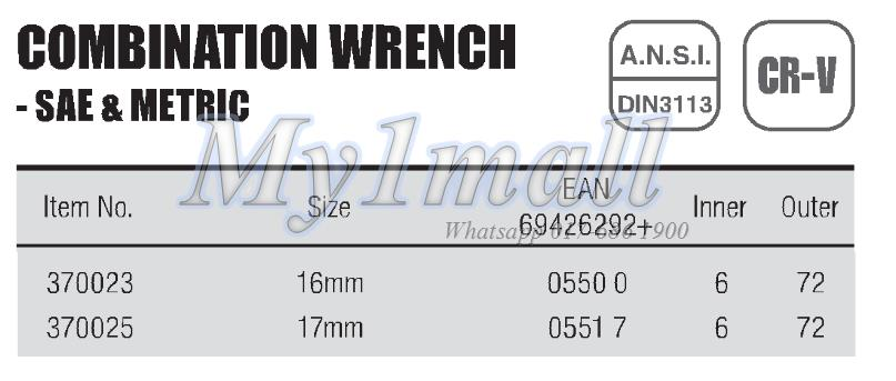 TACTIX WRENCH COMBINATION 16mm,17mm-SET D
