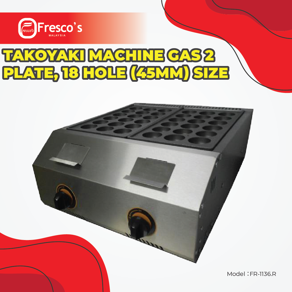 Takoyaki Machine Gas 2 plate, FR-1136.R 18 hole, Big hole (45mm) size